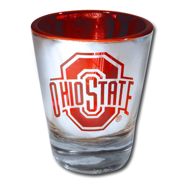 Silver and Red Chrome Athletic O Shot Glass - Conrads College Gifts
