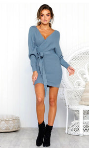 Knitted Crossover Wrap Dress