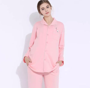 Nursing Pajamas with Flamingo Detail Pink