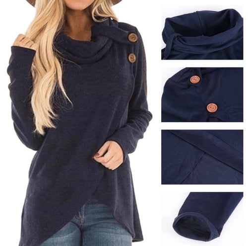 Button Detailing Crossover Tunic NAVY