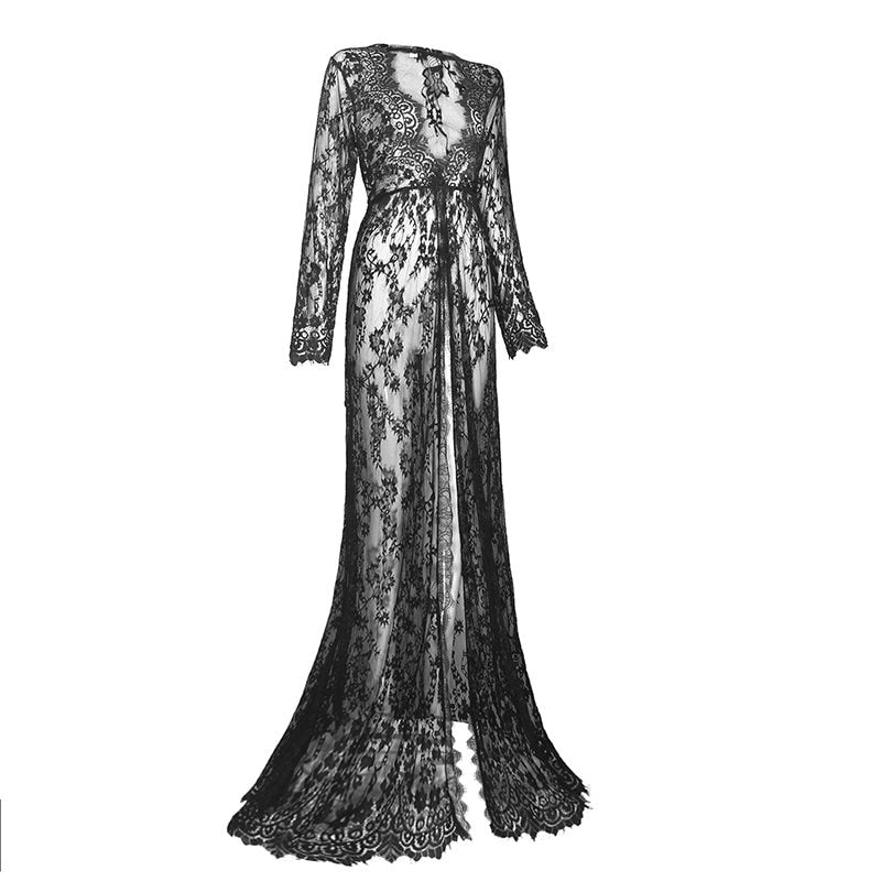 Quincy Long Vintage See Through Gown - veronalifestyle.com