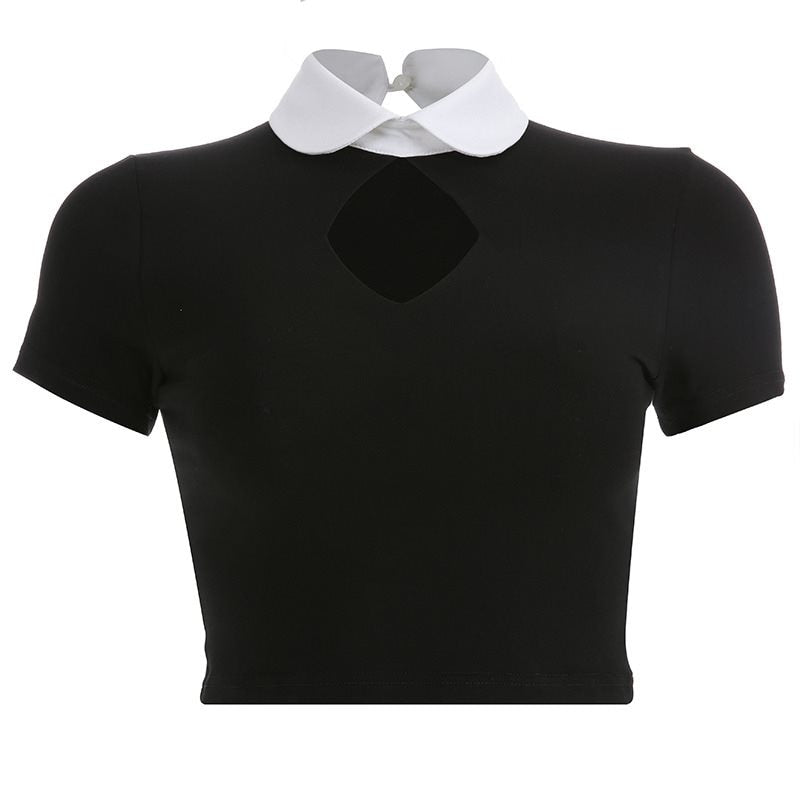 Meg Collared Crop Top - veronalifestyle.com
