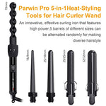 PARWIN PRO 5 in 1 Professional Curling Iron and Wand Set with Travel Bag