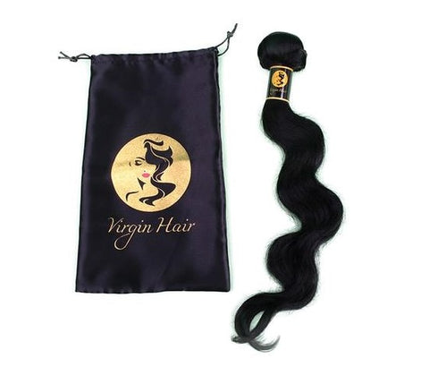 Stock Satin Black Gold/Red Virgin Human Hair Extensions Packaging