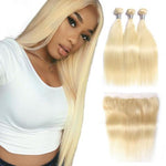 Brazilian 613 Blonde Straight Extensions with Frontal Closure 9A