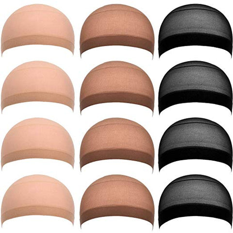eBoot 12 Pack Nylon Wig Caps (Black, Natural Beige and Light Brown)
