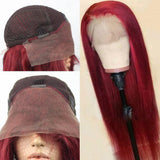 Hot Ginger Red Straight Lace Front Wig 13X6 Deep Part Preplucked with Baby Hairs