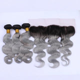 Brazilian Body Wave Gray Ombre Extensions with Lace Frontal