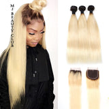 Brazilian Straight Honey Blonde Ombre Extensions with Lace Closure