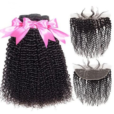 Mongolian Kinky Curly Bundles With 13x4 Frontal