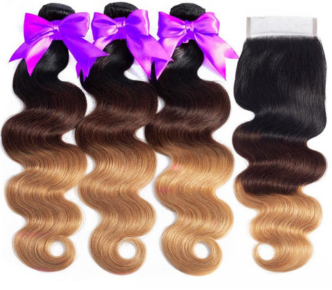 Brazilian Body Wave Ombre T1B/27 with Lace Closure