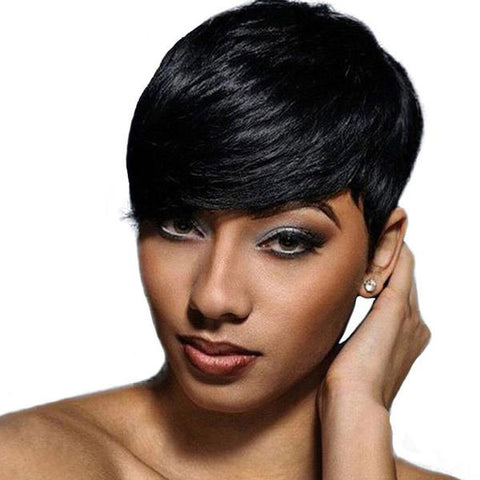 Short Black Pixie Synthetic Wig