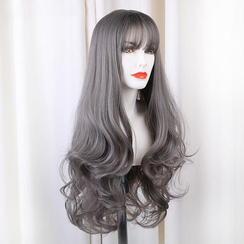 Gray Long Synthetic Wig With Bangs