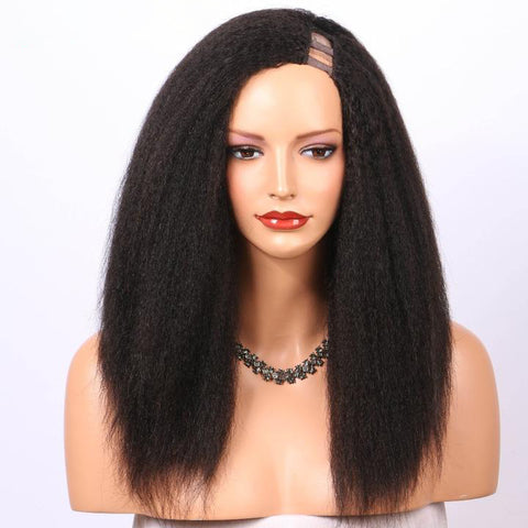 Kinky Straight U-Part Human Hair Wig