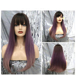 Ombre Purple Straight Synthetic Wig with Bangs