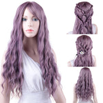 Purple Natural Wave Synthetic Wig with Side Bangs