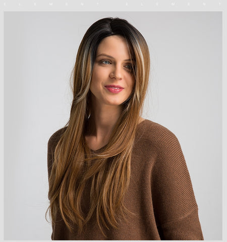 Ombre Brown Synthetic Hair Wig 26 inch Straight