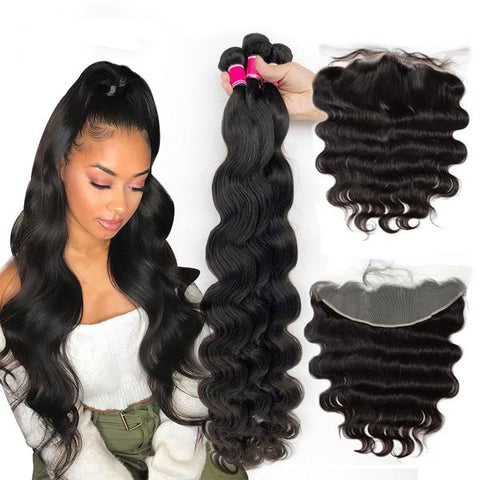 Brazilian Virgin Body Wave Extensions with Frontal