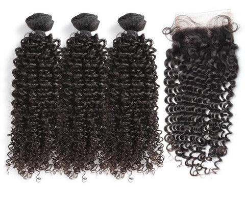 Indian Curly Hair Bundles With Closure
