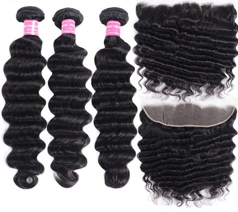 Brazilian Loose Deep Wave Bundles with Frontal (Custom Wig Option Available)