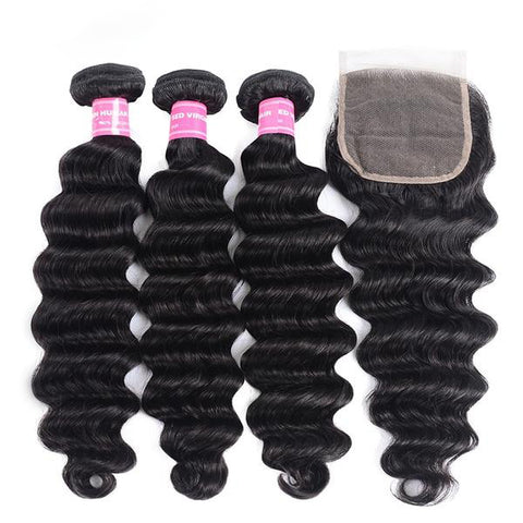 Brazilian Loose Deep Wave Bundles With Closure (Custom Wig Option Available)
