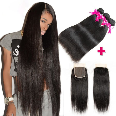 Princess Peruvian Straight Bundles With Closure