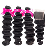 Princess Hair Brazilian Loose Deep Wave Bundles With Closure