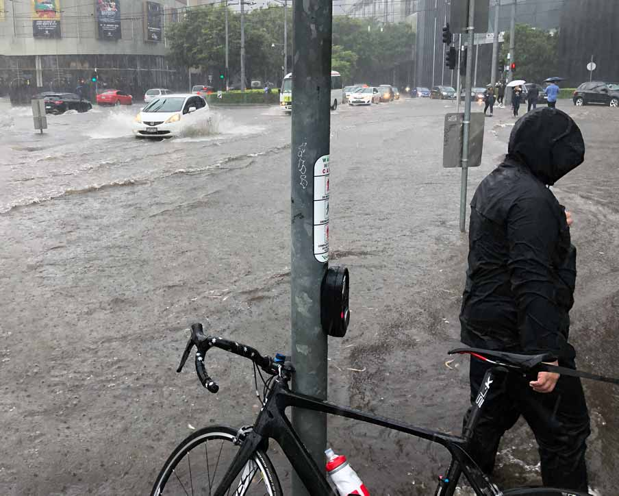 Bicycle at a flooded intersection in Melbourne