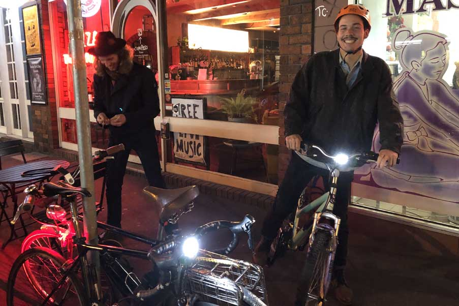 Two bunc heads on their bikes in Brunswick