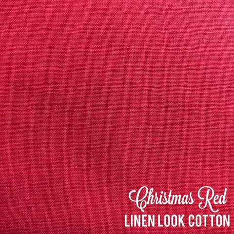 Christmas Red - Linen Look Cotton