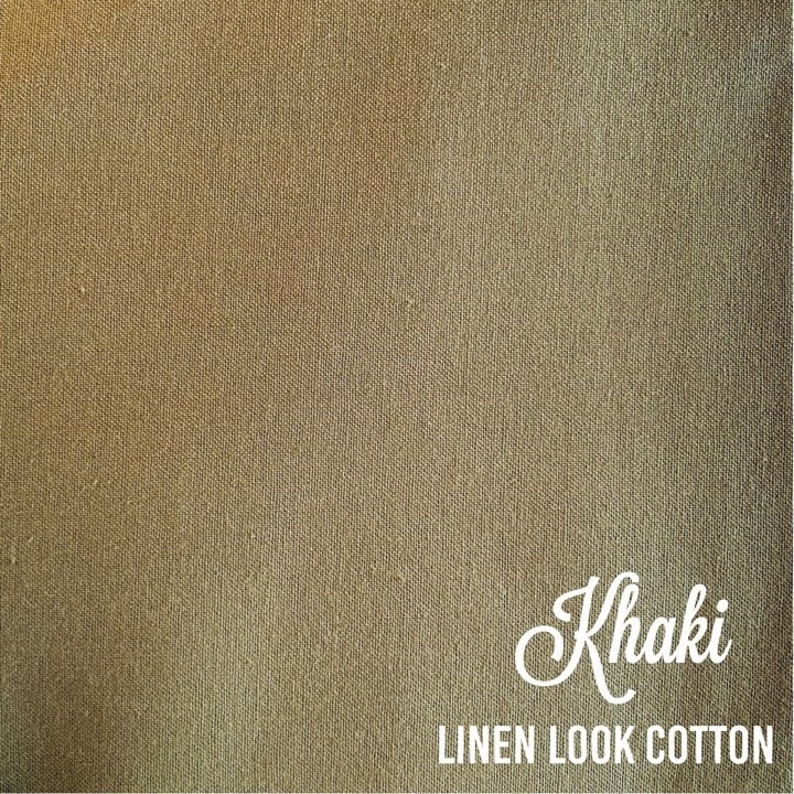 Khaki - Linen Look Cotton