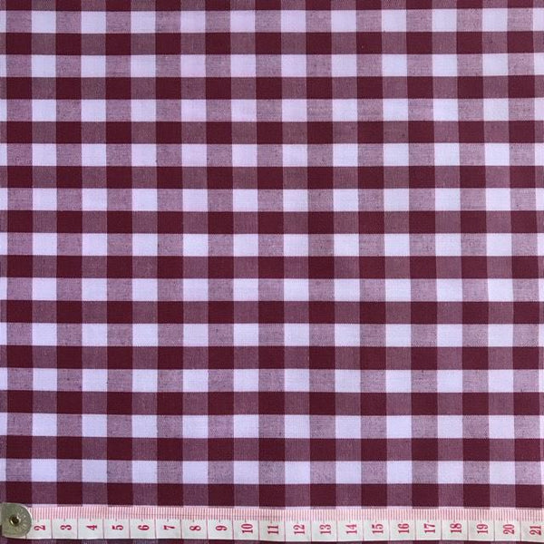 Gingham Wine/White 1 centimeter checks