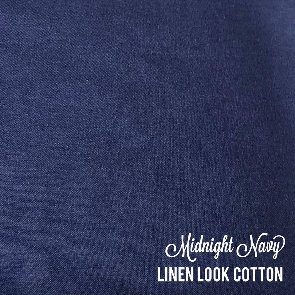 Midnight Navy - Linen Look Cotton