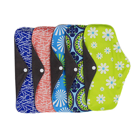 5Pcs Washable Reusable Sanitary Towel Portable Foldable Breathable Bamboo Charcoal Cloth Menstrual Pads 25x18cm(Random Color)