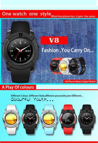 V8 SmartWatch With 0 3MP Camera Pedometer Sleep Monitor Touch Screen SIM  Card Slot Waterproof