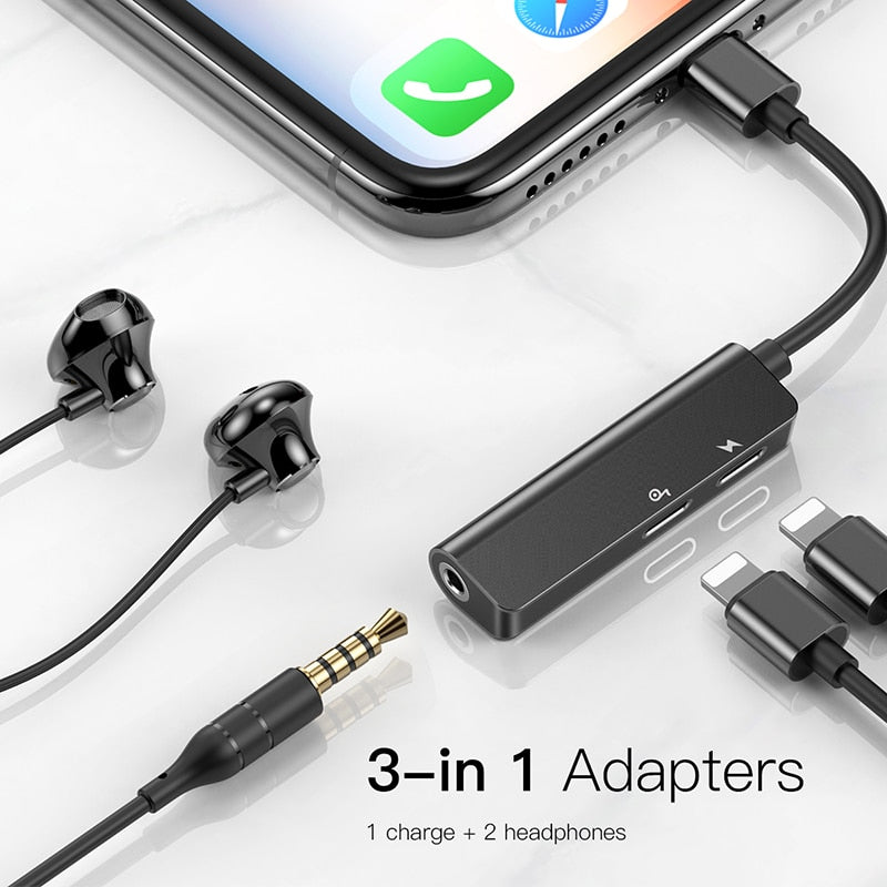 Headphone Jack Audio Adapter Fast Charge Splitter,3 in 1 Headphone and Charger Audio Adapter Splitter for iPhone