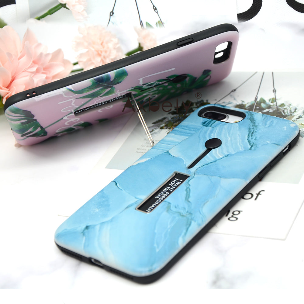 Marble Soft Silicon Case Hide Ring Stand Holder