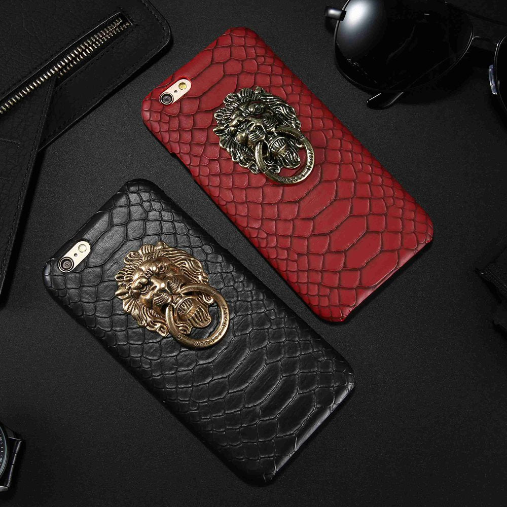 Leather Lion Ring Case For iPhone