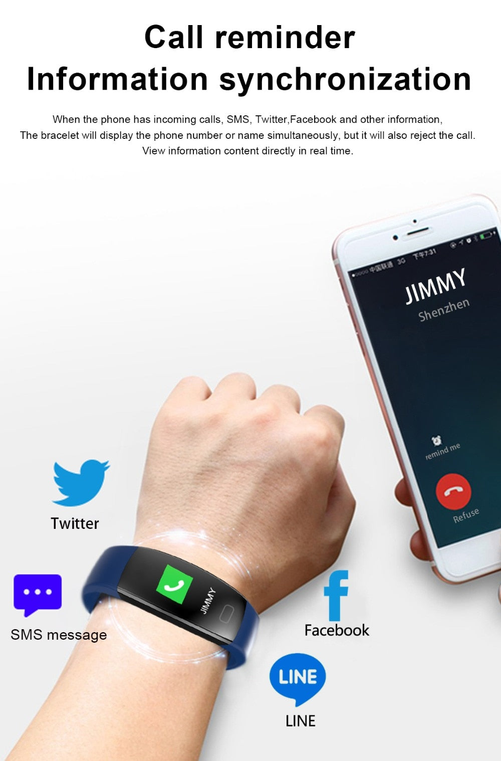Smart Fitness Bracelet, Blood Pressure Heart Rate Steps and Calories Burned