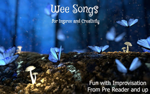 Blue butterflies and mushrooms represent a magical new series called Wee Songs, which emphasizes fun with improvisation for beginner rote learning and up