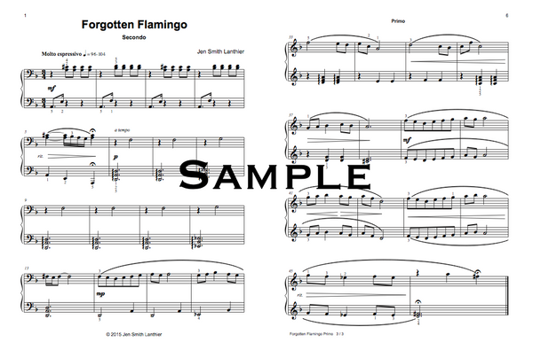 Forgotten Flamingo intermediate Flamenco inspired piano duet sheet music