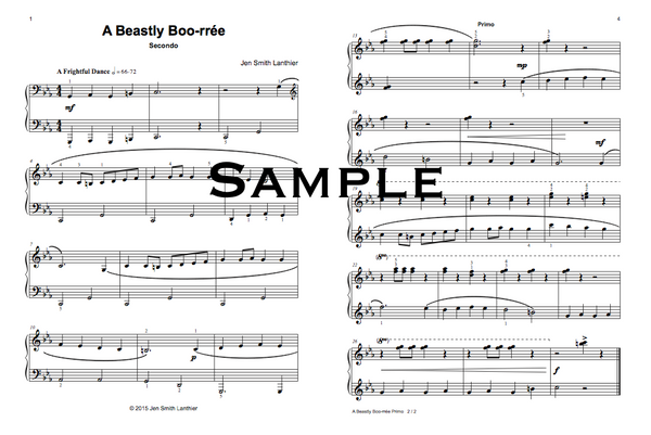 Halloween intermediate teen piano duet, Baroque style Bourrée music