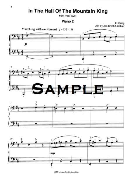 In the Hall of the Mountain King intermediate piano duet arrangement sheet music march
