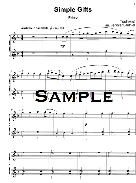 Simple Gifts elementary piano duet arrangement Shaker song sheet music