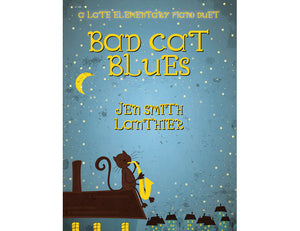 Bad Cat Blues 12-bar blues intermediate jazz duet with a starry night and cat playing saxophone