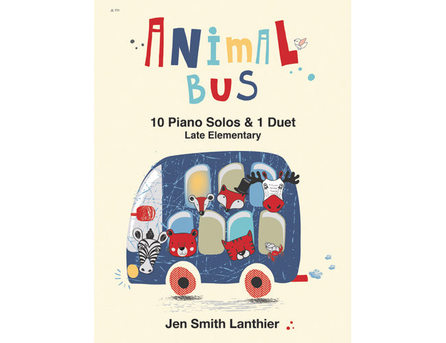 Animal Bus elementary piano book with fun music and a duet that kids love