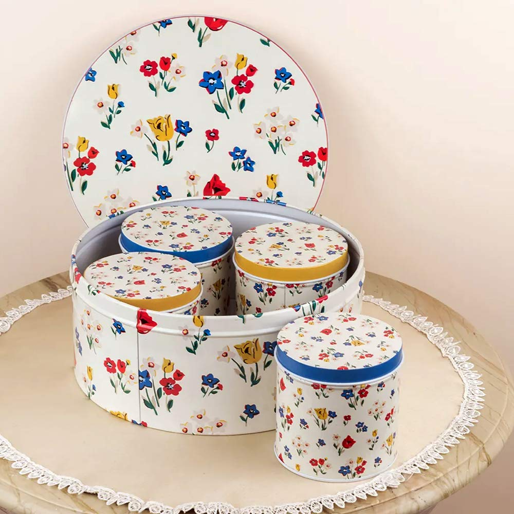 Yellow Floral Metal Tins (Set Of 5)