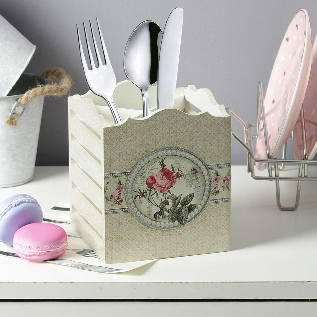 Square Vintage Spoon, Fork and Knives Organizer