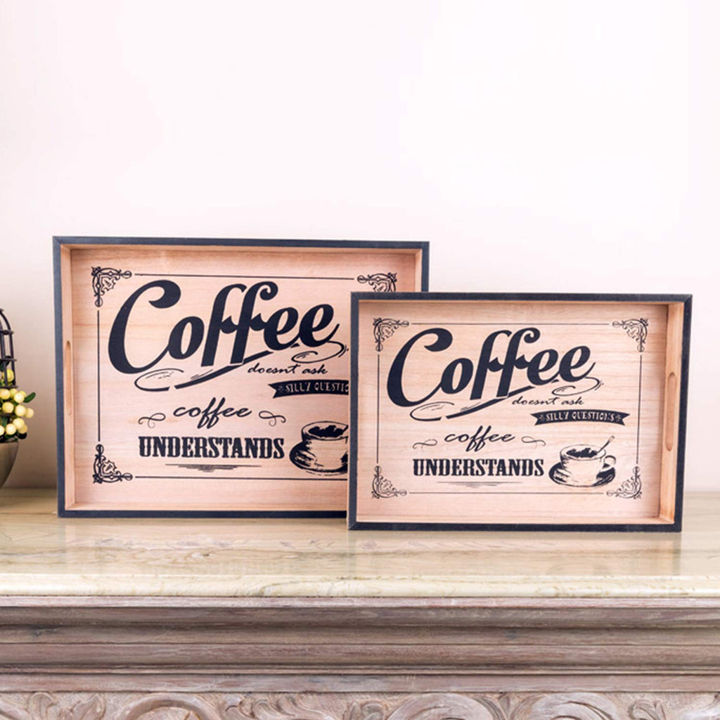Vintage Coffee Wooden Serving Trays (Set Of 2)