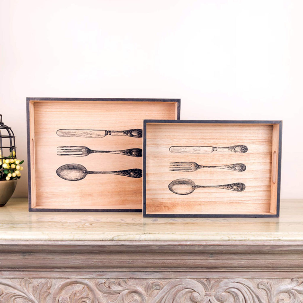 Vintage Spoon And Fork Wooden Serving Trays (Set Of 2)